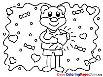 Bear Love download Valentine's Day Coloring Pages