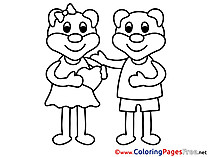 Bears Love Confession  Colouring Page Valentine's Day free