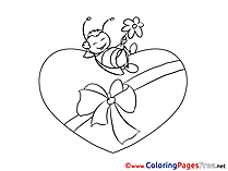 Bee Present free Colouring Page Valentine's Day