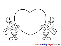 Bees Heart printable Valentine's Day Coloring Sheets