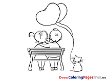 Bench Love for Kids Valentine's Day Colouring Page