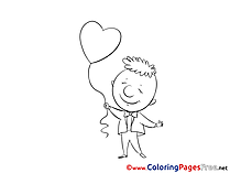 Boy Balloon Heart download Valentine's Day Coloring Pages