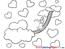 Bridge in Sky Colouring Sheet  Valentine's Day