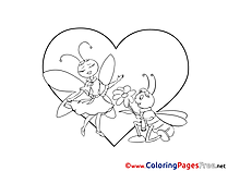 Bugs Love free Colouring Page Valentine's Day