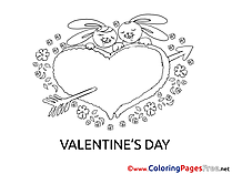 Bunnies Children Valentine's Day Colouring Page