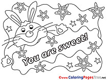 Bunny You Are Sweet Colouring Sheet download Valentine's Day