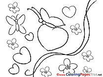 Butterflies Valentine's Day Hearts Colouring Sheet free