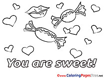 Candies Children Valentine's Day Colouring Page