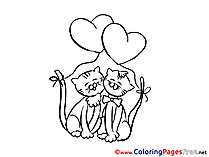 Cats Love printable Coloring Pages Valentine's Day