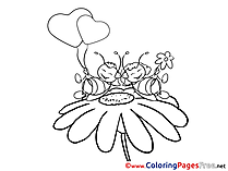 Chamomile Bees Love Valentine's Day Colouring Sheet free