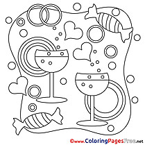 Champagne Kids Valentine's Day Coloring Pages