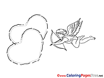 Cupid Hearts Coloring Pages Valentine's Day for free