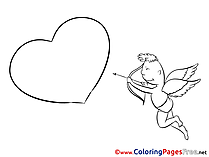 Cupid Love Kids Valentine's Day Coloring Pages