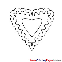 Decoration Heart free Colouring Page Valentine's Day