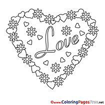 Drawing Heart for Kids Valentine's Day Colouring Page