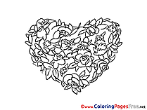 Flowers Heart free Valentine's Day Coloring Sheets