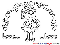 Girl Love Coloring Pages Valentine's Day for free