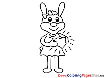 Hare printable Coloring Pages Valentine's Day