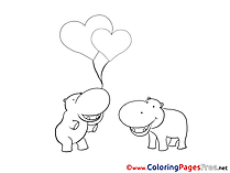 Hippos Balloons Kids Valentine's Day Coloring Pages