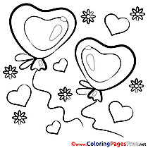 Holiday Hearts Children Valentine's Day Colouring Page