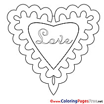 Image Heart Colouring Page Valentine's Day free