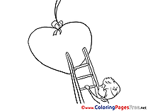 Ladder Boy Heart Colouring Sheet download Valentine's Day