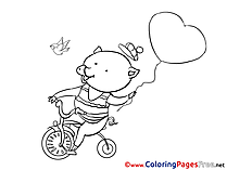 Piggy Bicycle Valentine's Day Balloon Coloring Pages free