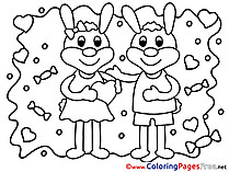 Rabbits free Valentine's Day Coloring Sheets
