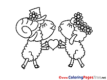 Sheeps Kiss download Valentine's Day Coloring Pages