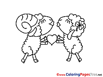 Sheeps Love Kids Valentine's Day Coloring Pages