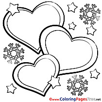 Snowflakes Kids Valentine's Day Coloring Page
