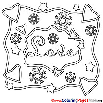Snowflakes Love Valentine's Day Coloring Pages download