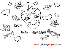 Strawberry You Are Sweet Valentine's Day Coloring Pages