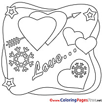 Valentine's Day Colouring Sheet Love free