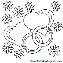 Wedding Rings Coloring Pages Valentine's Day for free