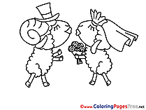 Wedding Sheeps Coloring Sheets Valentine's Day free