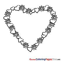 Wreath Valentine's Day free Coloring Pages