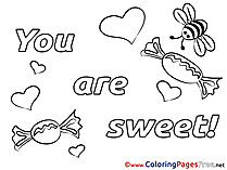 You Are Sweet Bees for Kids Valentine's Day Colouring Page