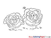 Cabbages Kids download Coloring Pages