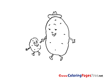 Potato download Colouring Sheet free