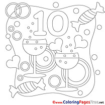10 Years Wedding Coloring Pages for free