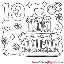 10 Years Wedding Coloring Sheets download free