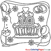 10 Years Wedding free Coloring Page for Kids