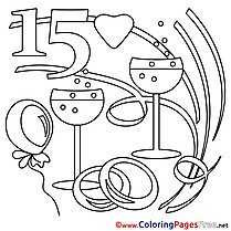 15 Years Wedding Coloring Pages download for free