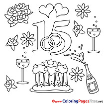 15 Years Wedding Colouring Page   free download