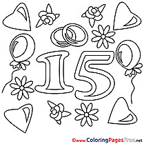 15 Years Wedding printable Coloring Pages