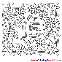 16 Years Wedding printable  Coloring Pages