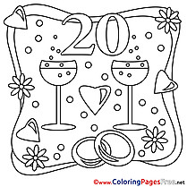 20 Years Wedding Coloring Pages free