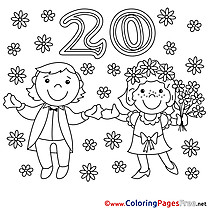 20 Years Wedding Coloring Sheets download free