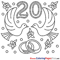 20 Years Wedding Colouring Sheet   download free